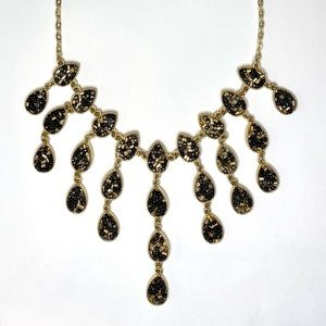 INC Chandelier Necklace w/ Black and Gold Beads
